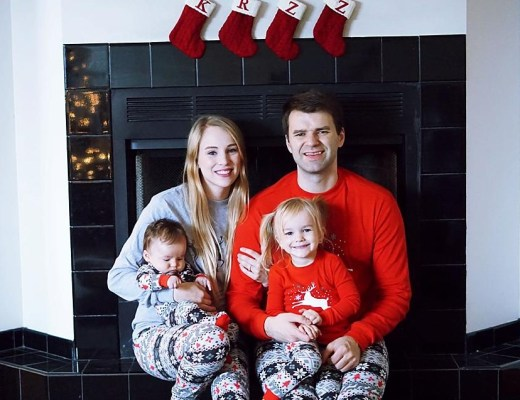 Our Christmas Eve In Matching Family Christmas Pajamas by Rachael Burgess