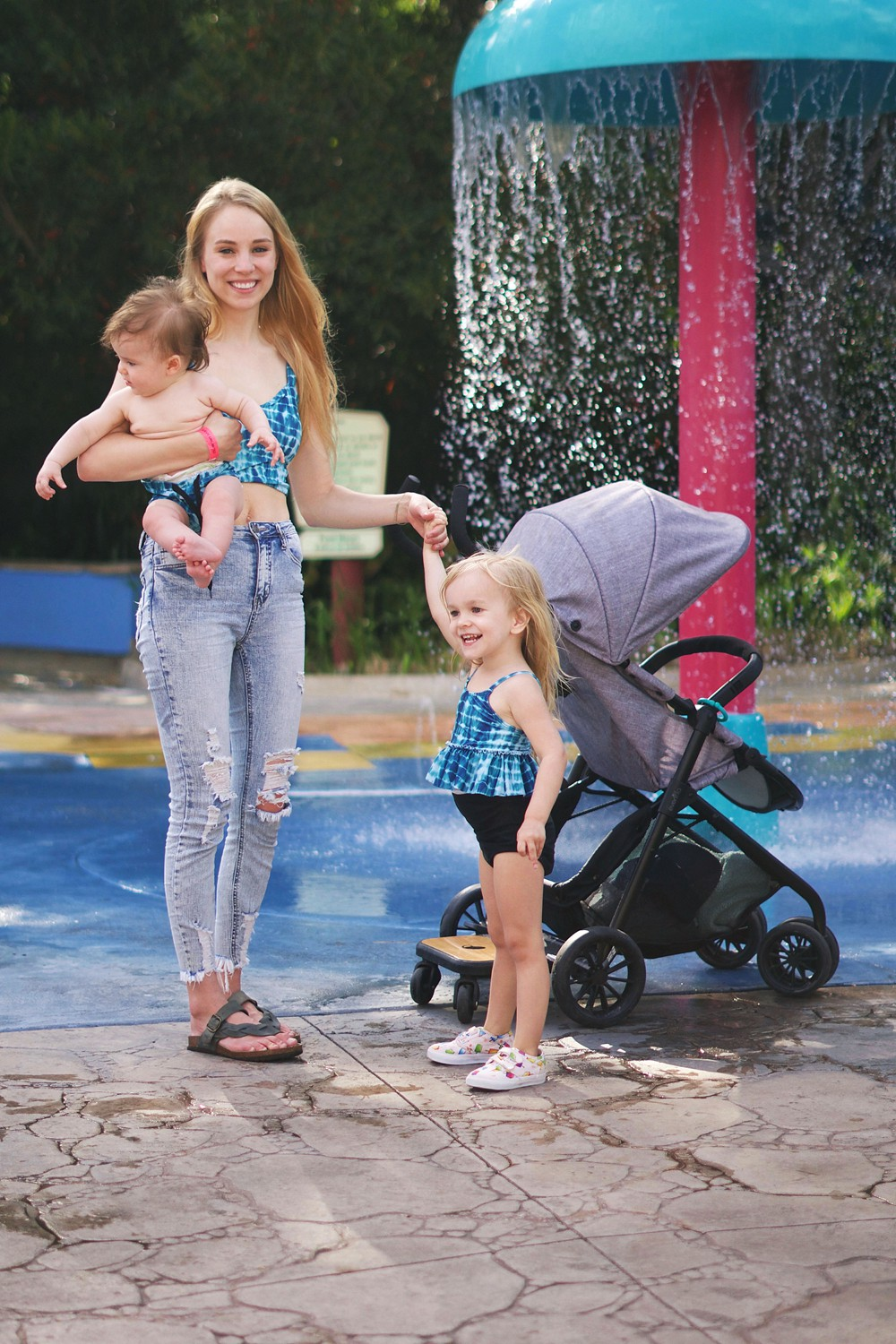 Splash Pad at Busch Gardens with Two Kids & the Evenflo Sibby Stroller by Rachael Burgess