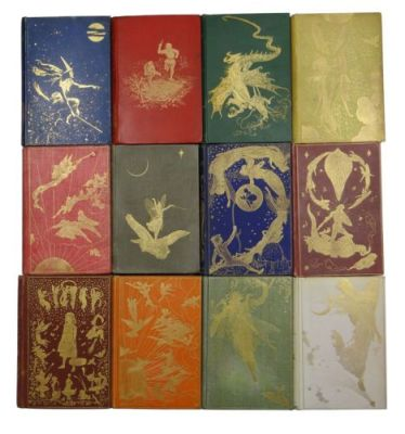 gold fairy tale images embossed on 12 different coloured books