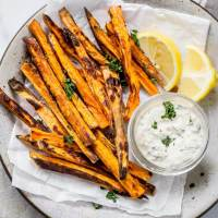 Baked Sweet Potato Fries with lemon caper aioli