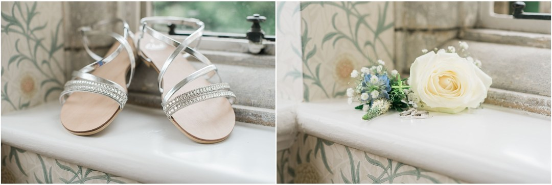 silver and diamond flat bridal shoes