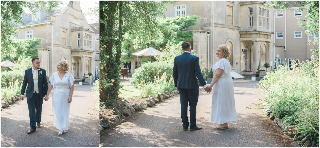 bride and groom walking hand in hand down the driveway at the chiseldon house hotel