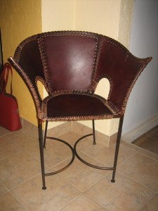 Leather and iron chair