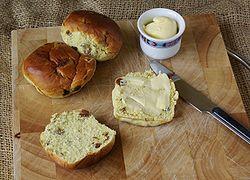 A traditional currant bun. Wikimedia