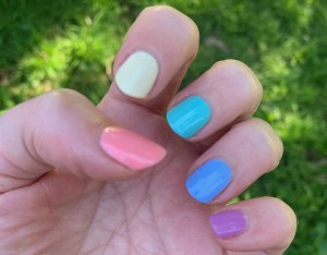 """Skittle mani using the cream polishes from the Olive Ave Polish """"Flora"""" collection."""