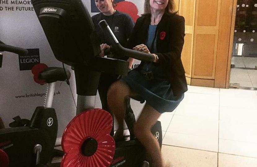 Rachel pedals her way to boosting RBL Poppy Appeal