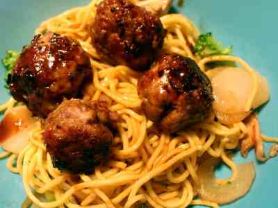 Asian Meatballs over Yakisoba Noodles