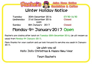 Winter Holiday 2016 Notice