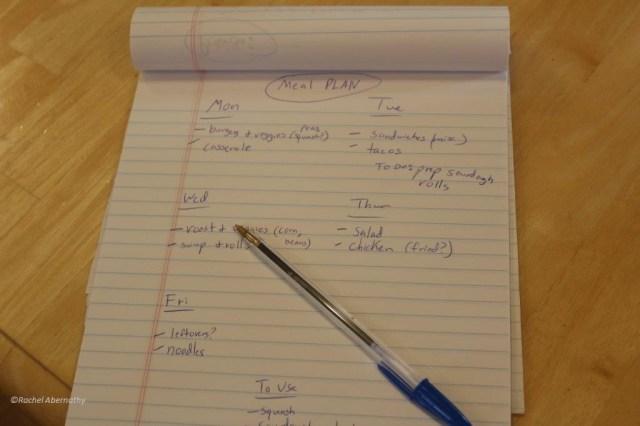 Example meal plan sheet.