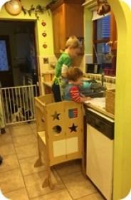 Raising Children To New Heights With The Guidecraft Kitchen Helper- Both kids!