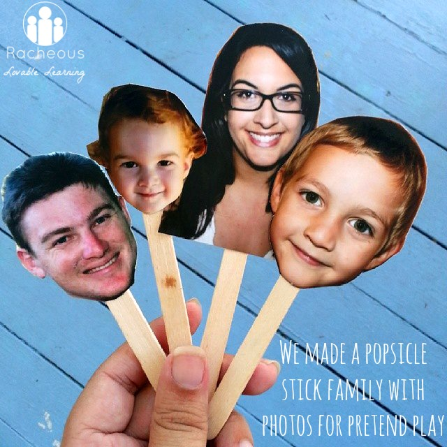 Popsicle Stick Family with Photos for Pretend Play Racheous - Lovable Learning