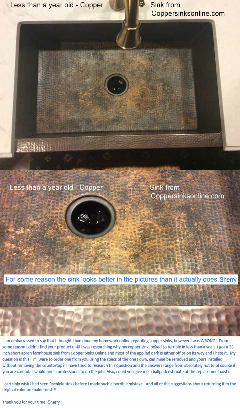 why rachiele copper sinks are low