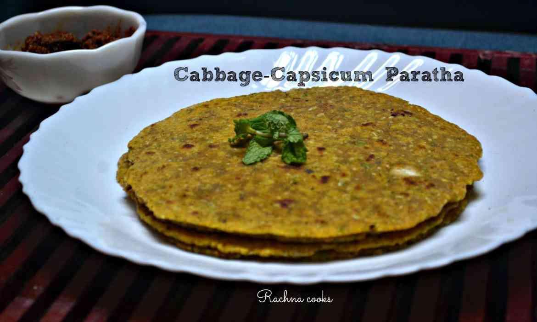 cabbage capsicum paratha