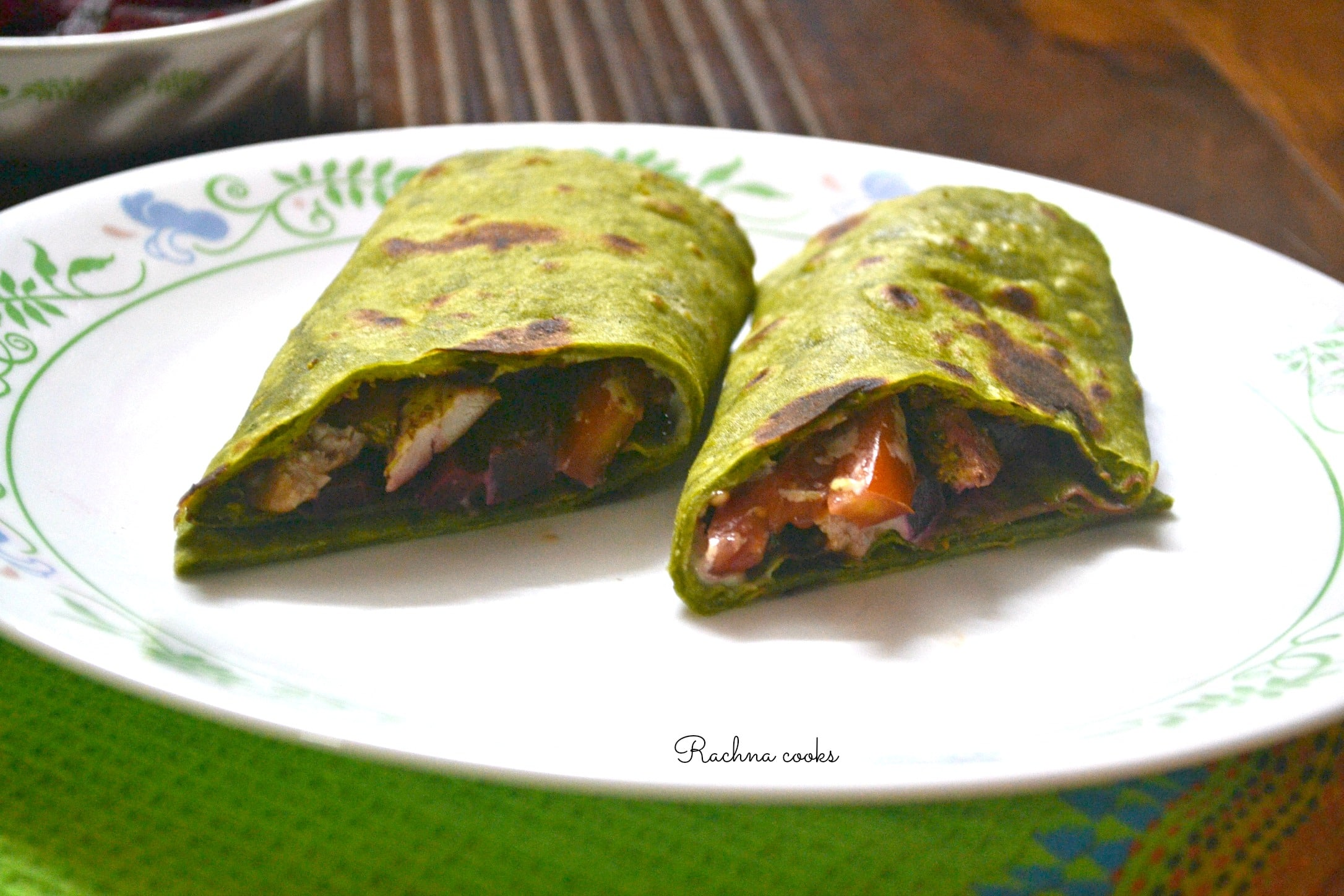 Iron Rich Green Wrap with Chicken and Veggies