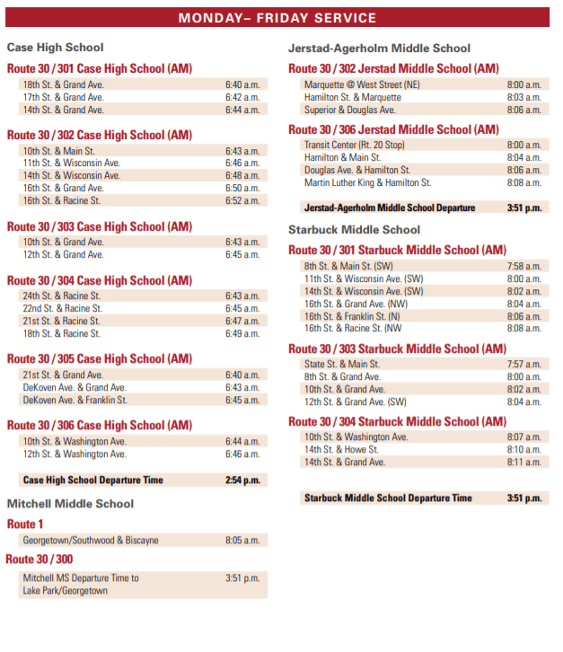 Route 30 Schedule 1