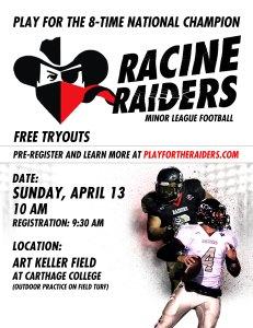 Racine Raiders tryout poster
