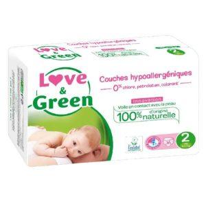 Love & Green Taille 2 Biodégradable , écologique et naturel