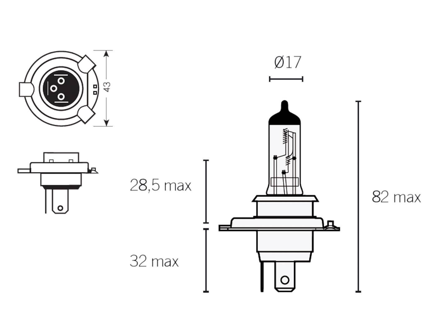 Gluhlampe Halogen H4 P43t 12v W