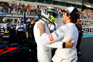 Jenson Button and Fernando Alonso on the grid.
