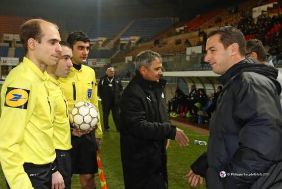 Michel ESTEVAN, coach de Fréjus et François KELLER, peu avant le début du match