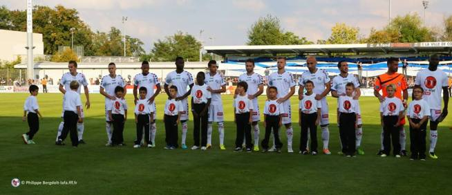 L'équipe du RCSA qui démarre le match: de gauche à droite: Liénard, Marques, Aguemon, Amofa, Belahmeur, Fachan, Grimm, Sikimic, Sabo, Gauclin, Seka