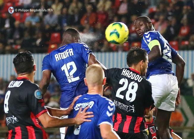 Grimm, Amofa et Seka lors de la rencontre contre Boulogne