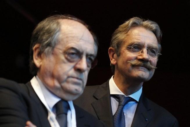 à gauche, Noël LE GRAET, patron de la Fédération Française de Football et à droite, Frédéric THIRIEZ, président de la Ligue de Football Professionnel