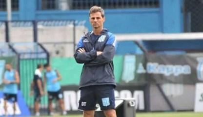 Diego Cocca en un entrenamiento de Racing Club.