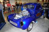 """""""Survived Under Pressure"""" drag racing blue Willys coupe."""