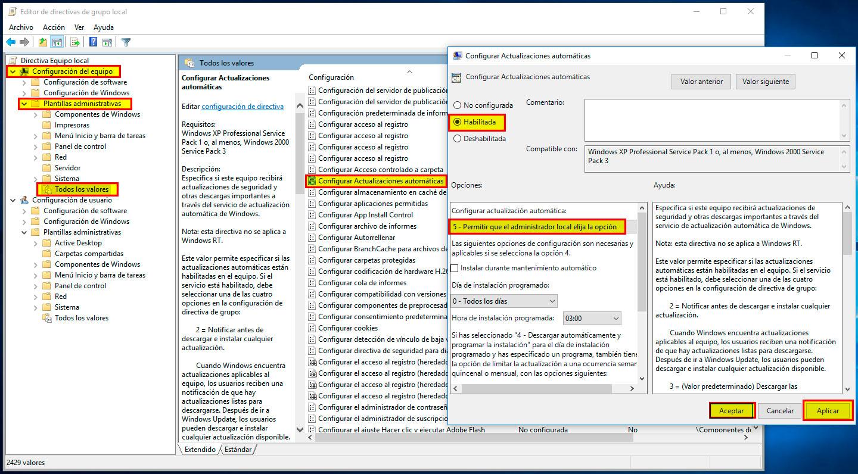 Desactivar Actualizaciones de Windows 10