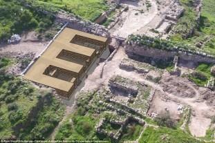 Reconstrução artística do que os arqueólogos dizem ser câmaras; uma delas escondia um santuário onde dois altares foram descobertos. Foto: Israel Antiquities Authority
