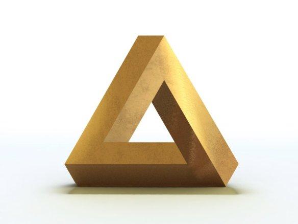 ¡AAH! ¡Un triangulo de Penrose! da vueltas sobre sí mismo, pero no tiene sentido, ¡es imposible! ¡¡Me duele la cabeza!! ¡¡¡APÁRTALO, APÁRTALO!!!