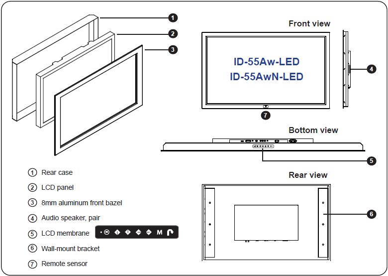 ID 55Aw LED 55 LG 1080P HDMI Wide Screen 16 9 Panel