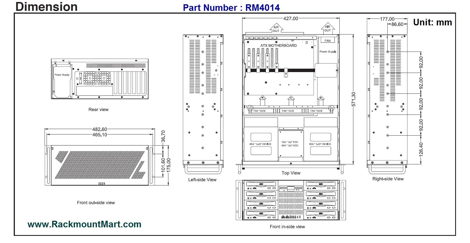 Rm 4u Rackmount Chassis Optional 5 X 3 5 Amp 8 X 5 25