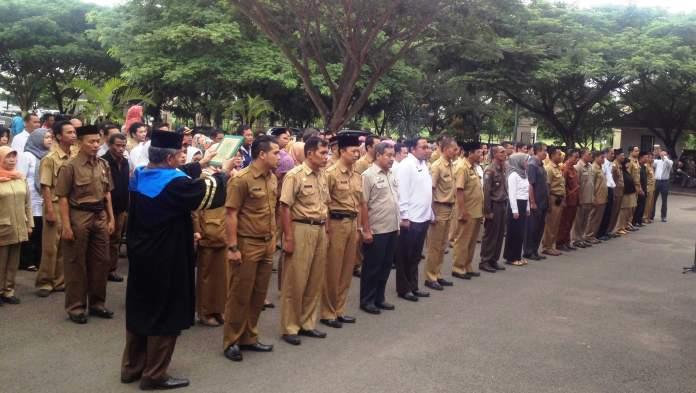 Pelantikan pejabat Pemkot Serang, Rabu (10/2).