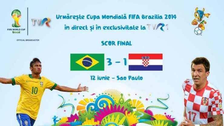 BRAZILIA CROATIA meci Cupa Mondiala la TVR