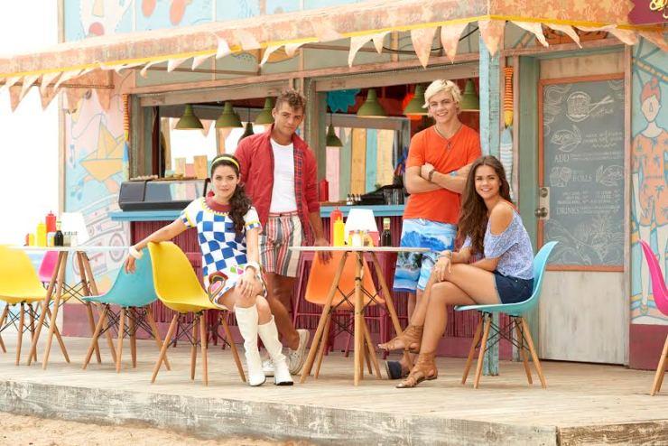 "TEEN BEACH 2 - Disney Channel's ""Teen Beach 2"" stars Grace Phipps as Lela, Garrett Clayton as Tanner, Ross Lynch as Brady and Maia Mitchell as McKenzie. (Disney Channel/Bob D'Amico)"