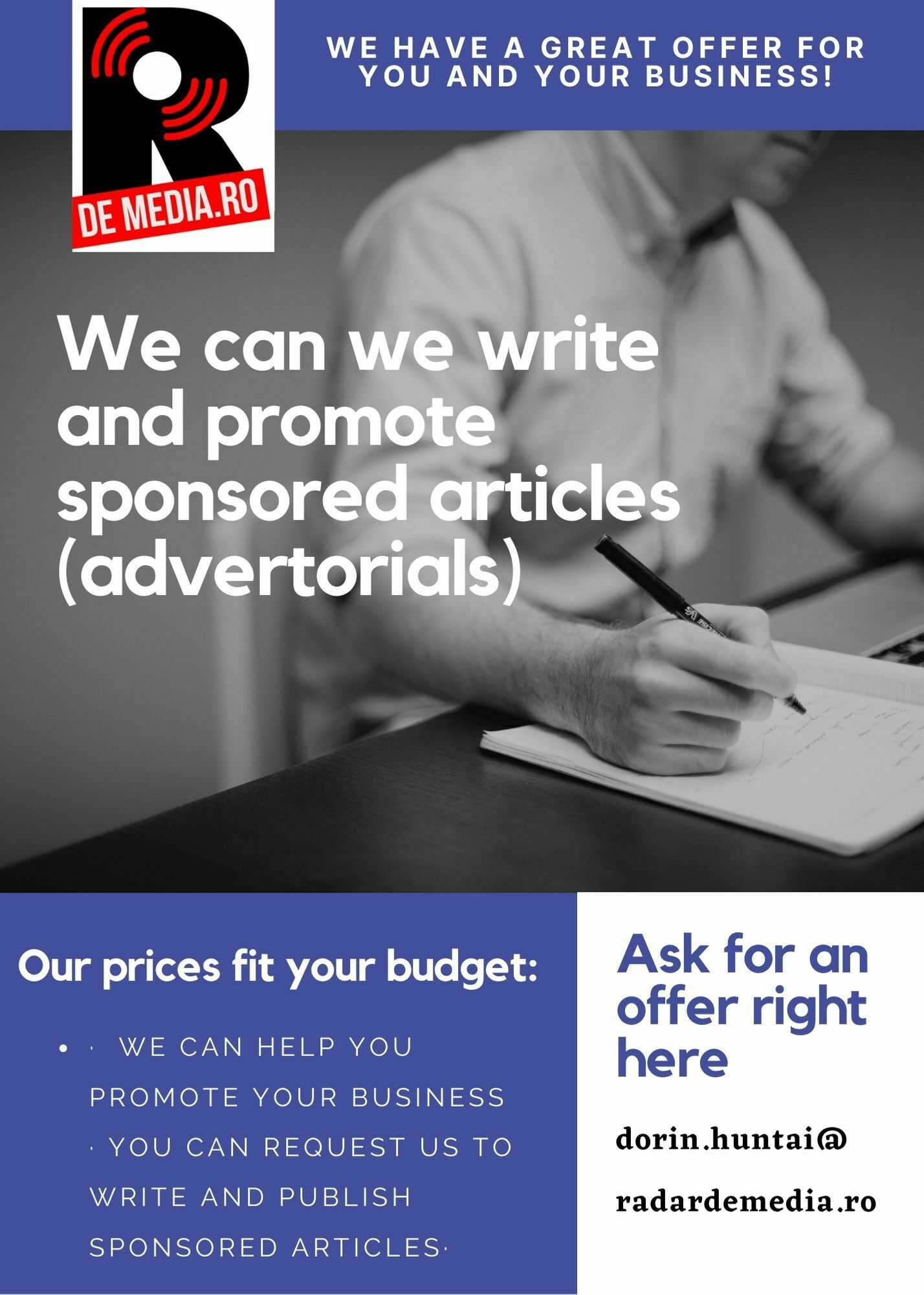 NEW! We write and publish sponsored articles for your budget!