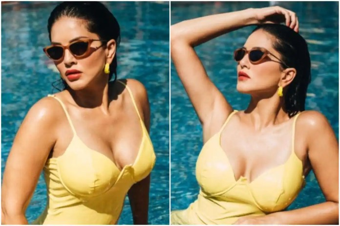 Sunny Leone Turns up The Heat in a Yellow Swimsuit on Monday Morning -
