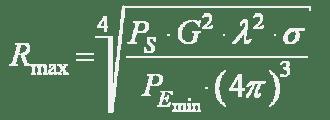 Formül (13): Azami menzil R maks, payda yer alan gönderim gücü P S , anten kazancı G nin karesi, dalga boyu λ nın karesi ve etken yansıtma yüzeyi σ nın çarpımının, paydada yer alan P E min ile, parantez içinde 4 π nin küpüyle çarpımı sonucu çıkan değere bölümünün dördüncü dereceden köküne eşittir.