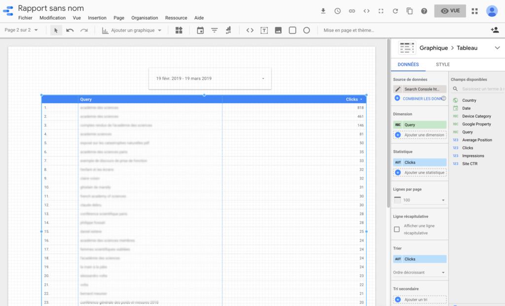 Un tableau avec les 20 top requêtes dans Google data studio