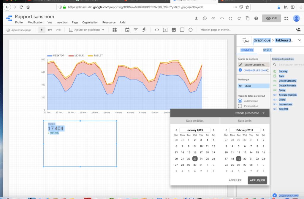 Ajoutez une période de comparaison dans un dashboard de Google data studio