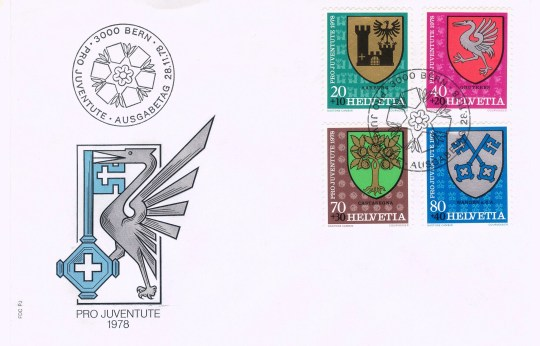 Often the heraldic importance of a piece lies in the artistic interplay among cachet, stamp, postmark and secondary marking. Here, in a first-day cover for a 1978 Swiss semi-postal issue (meaning that an extra charge above the postage value is collected for charity), note that the cachet combines the principal charges on the arms of two of the stamps.