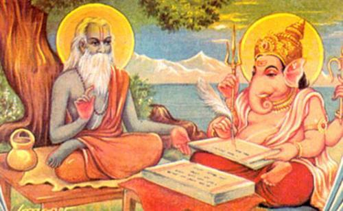 Vyasa dictating the Mahabharata to Lord Ganesha, who acts as his scribe.