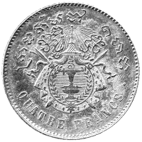 Cambodian four-franc piece dated 1860