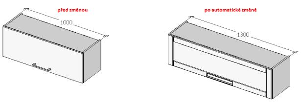 Ukázka automatické změny skříňky (před / po změně)