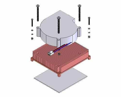 Copper Skived Heatsink with Blower for 1U Server