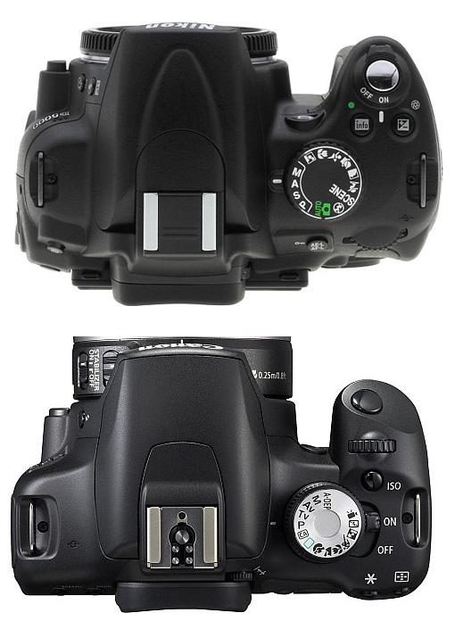 Top view : Nikon D5000 dan EOS 500D (credit : radiantlite)