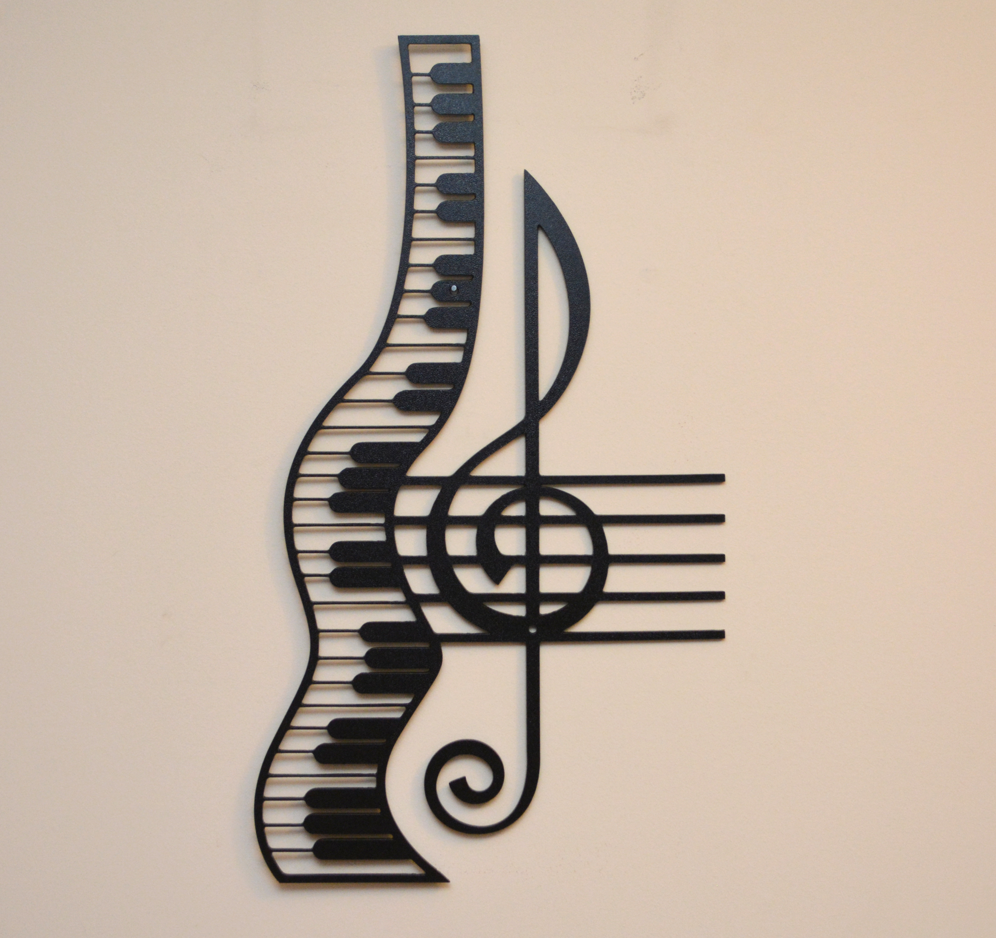 Treble Clef And Staff With Piano Metal Sign Home Decor