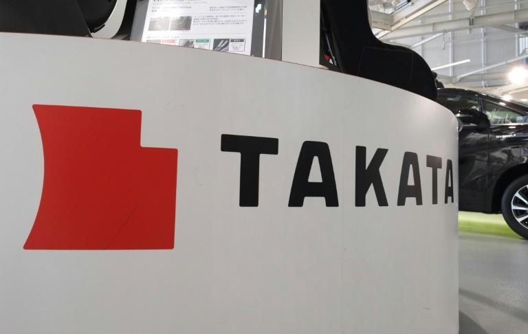 Le logo du groupe japonais Takata sur un salon automobile à Tokyo, le 13 janvier 2017. © AFP